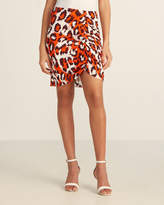 Diane von Furstenberg Leopard Spicy Orange Silk Nadia Skirt