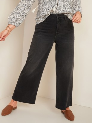 Old Navy Extra High-Waisted Wide-Leg Cut-Off Black Ankle Jeans for Women