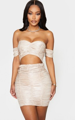 Bardot 4fashion Shape Champagne Ruched Cut Out Bodycon Dress