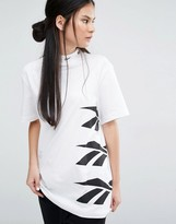 Reebok Classics Oversized High Neck T-Shirt With Vector Print In White