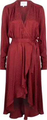 Dante6 - Dayna Jacquard Dress in Marsala Red - small
