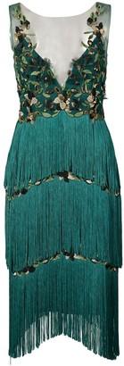 Marchesa fringed appliqué dress