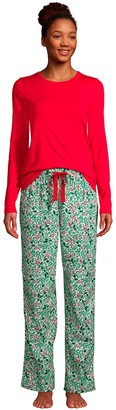Lands' End Women's Knit Long Sleeve Pajama Top and Pajama Flannel Pants Set