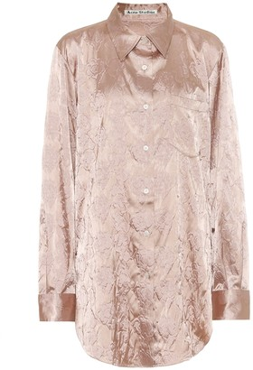 Acne Studios Floral-embossed satin shirt