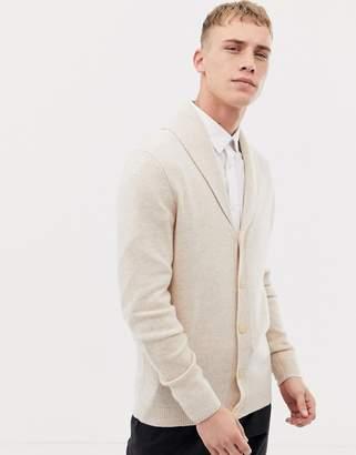 Asos Design DESIGN lambswool shawl cardigan in oatmeal-Beige