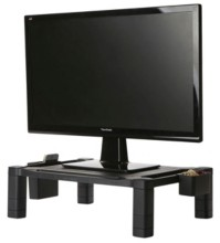 Mind Reader Plastic Monitor Stand With Side Compartments For Computer, Laptop
