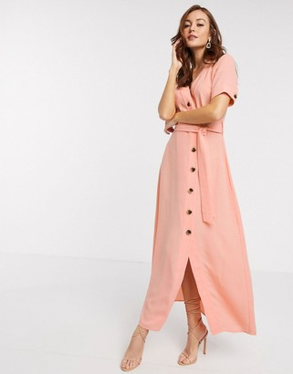 Y.A.S maxi dress with button through and tie waist in coral