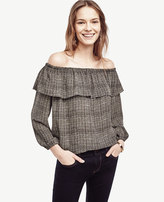 Ann Taylor Petite Plaid Cold Shoulder Ruffle Top