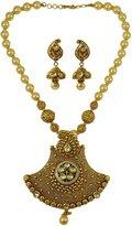 Matra Gold Tone Acrylic Stone Beautiful 2 Pcs Pendant Necklace Set Traditional Jewelry
