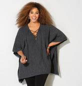 Avenue Lace-Up Ribbed Poncho