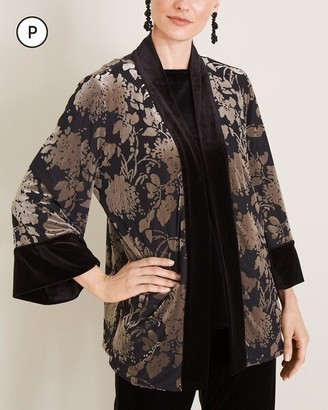 Travelers Collection Petite Reversible Floral Velvet Jacket