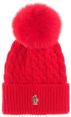 MONCLER GRENOBLE Fur-trimmed wool beanie
