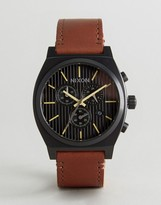 Nixon Time Teller Chronograph Leather Watch In Tan