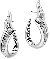 John Hardy Sterling Silver White & Gray Diamond Hoop Earrings