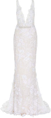 Mira Zwillinger Dara Open-Back Chantilly Lace Sheath Gown