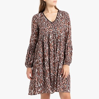 Pensee Printed Short Dress with Long Sleeves