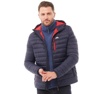 Trespass Mens Digby Down Fill Padded Hooded Jacket Navy/Red