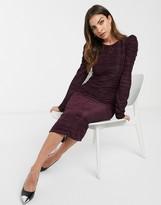 Asos Design DESIGN structured plisse midi dress in aubergine
