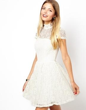 Asos Lace High Neck Prom Dress - Cream