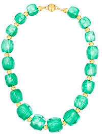 Gold & Honey Triangular-Prism Bead Necklace, Teal
