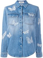 Valentino butterfly appliqué denim jacket - women - Cotton/Viscose - 40