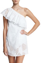 Milly Cotton Eyelet One-Shoulder Coverup Dress, White