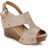 Kenneth Cole Reaction Sole-O Leather Open-Toe Slingback Wedges