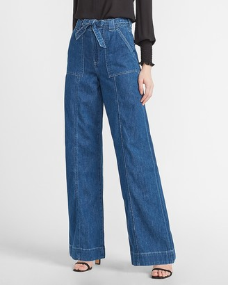 Express Super High Waisted Belted Wide Leg Jeans
