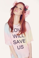 Wildfox Couture Love Will Save Us Cobain Tee in Rainbow