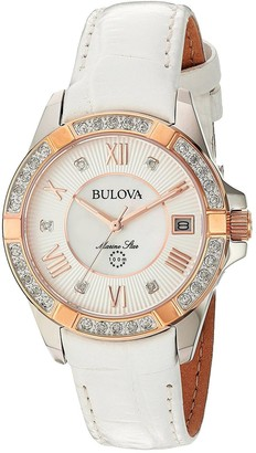 Bulova Womens Analogue Quartz Watch with Leather Strap 98R233