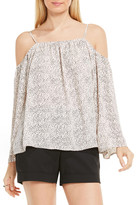 Vince Camuto Print Cold Shoulder Blouse