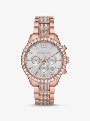 Michael Kors Oversized Layton Pave Rose Gold-Tone Watch