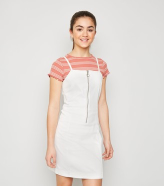 New Look Girls Zip Denim Pinafore Dress