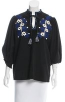 Suno Embroidered Puff Sleeve Top