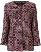 Chanel Pre Owned 1995's collarless single breasted long sleeve tweed jacket