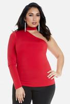Fashion to Figure Myra One Shoulder Choker Top