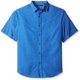 Sean John Men's Big and Tall Short Sleeve Yarn Dyed Dobby Shirt