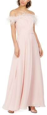 Eliza J Petite Faux-Feather Off-The-Shoulder Gown
