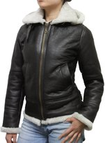 Brandslock Ladies Aviator Hooded Sheepskin Leather Jacket