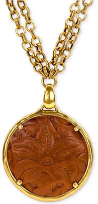 "Patricia Nash Leather-Inset Double-Chain 28"" Pendant Necklace"