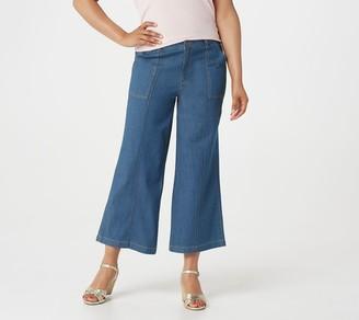 Denim & Co. Lightweight Stretch Wide-Leg Crop Denim Pants