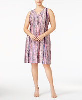 NY Collection Petite Plus Size Embellished Printed A-Line Dress, Created for Macy's