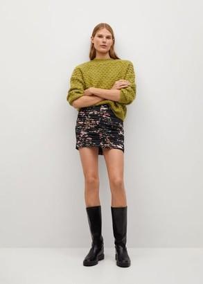 MANGO Printed pleated miniskirt