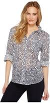 Dylan by True Grit - Gauzy Cotton Zebra Vintage Roll Sleeve Shirt Women's Clothing