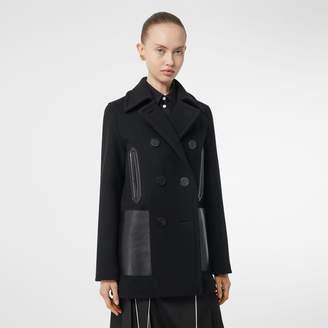 Burberry Lambskin Pocket Wool Blend Pea Coat