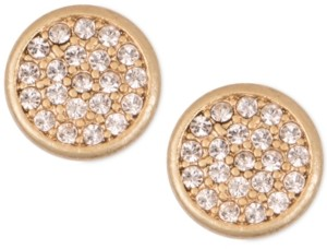 lonna & lilly Mixed Metal Pave Disc Stud Earrings
