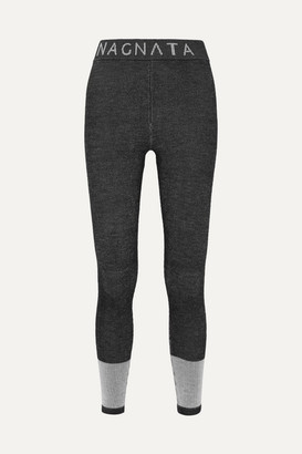 Nagnata - + Net Sustain Intarsia Technical Merino Wool-blend Leggings - Black
