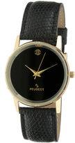 Peugeot Mens Black Leather Strap Watch