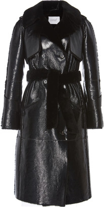 The One Common Leisure Shearling-Lined Glossed-Leather Trench Coat