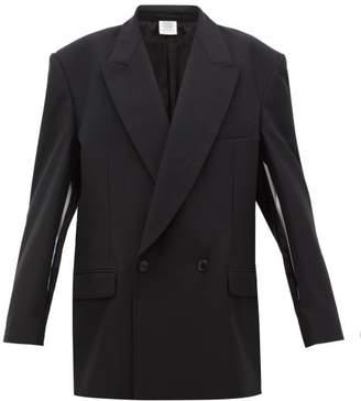 Vetements Slit Sleeve Double Breasted Wool Blazer - Womens - Black